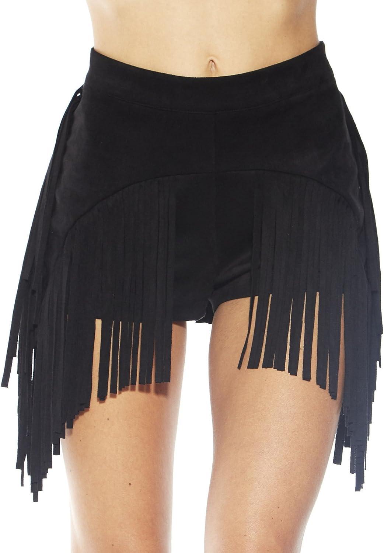 iHeartRaves Women's High Waisted Fringe Skirt Booty Shorts Tassel Skort