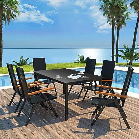 Tidyard - Juego de 7 Muebles de jardín, terraza y Patio (1 Mesa + ...