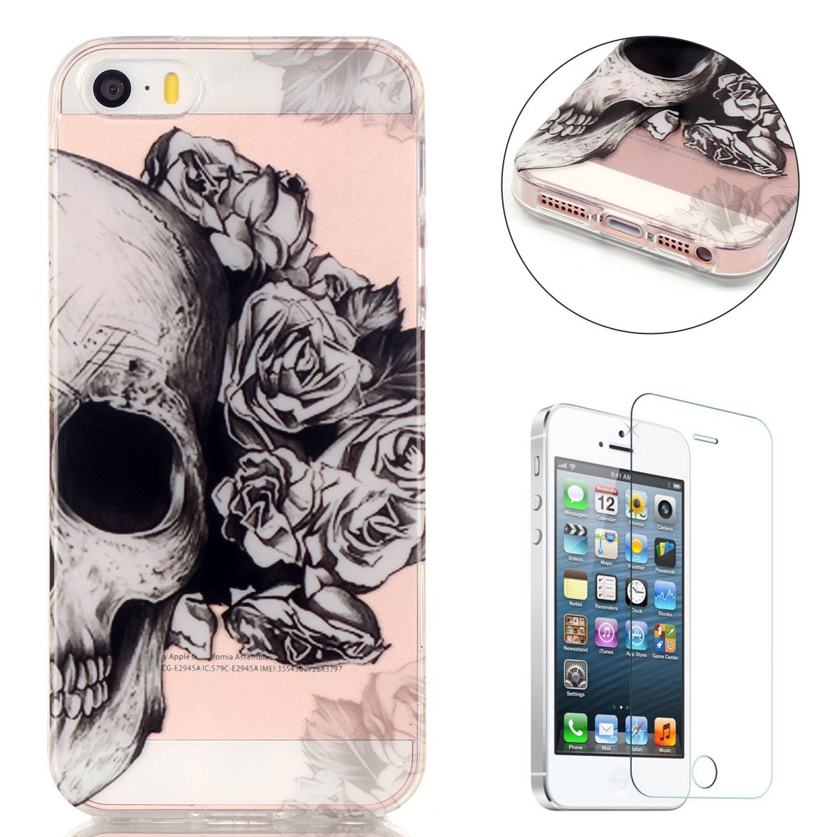 For Iphone Se 5s 5 Case Tpu Silicone Gel Back Cover Hippo Tempered Glass Crystal Screen Guard 5c Electronics