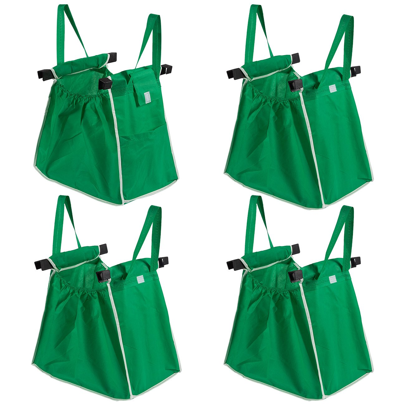Trolley Bags, 4-Pack - Reusable Shopping Cart Bags for Grocery Shopping in Supermarket - Foldable Shopping Bags, Green Juvale