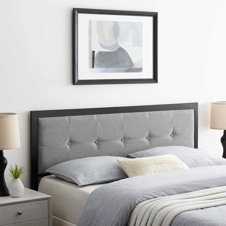 Modway MOD-6172 Teagan Tufted Fabric Twin Headboard in Black Light Gray