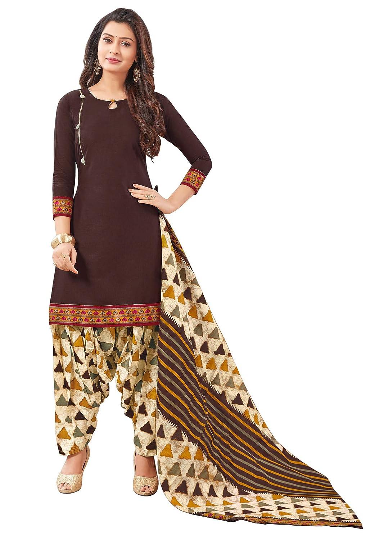 Buy Salwar Studio Women S Brown Beige Cotton Printed Readymade