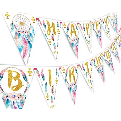 Boho Happy Birthday Banner Pennant - Wild One Party Banner: Toys & Games