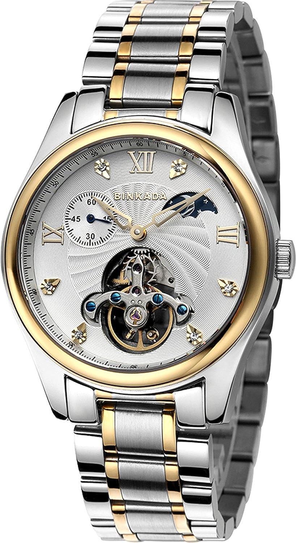 BINKADA For Mans自動ムーンフェーズ機械ホワイトダイヤルメンズ腕時計# 800201 – 3 B014VP0XAQ