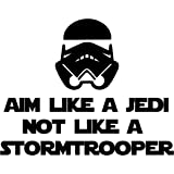 Aim Like a Jedi not a Stormtrooper Black Custom Vinyl Decal Sticker 7 x 5.5 Toilet Sign