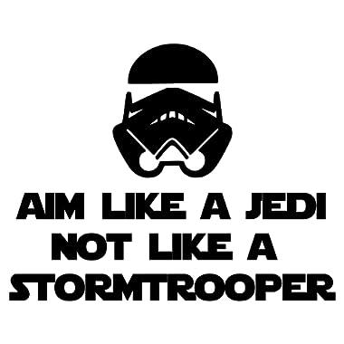 Minglewood Trading Aim Like a Jedi not a Stormtrooper BLACK custom vinyl decal sticker 7  x 5.5  Toilet Sign