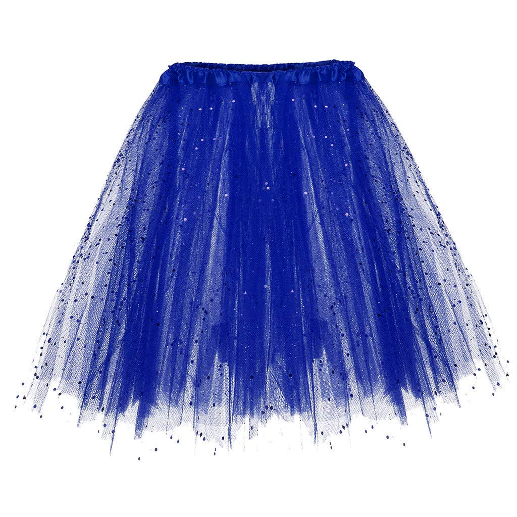 UOFOCO Elastic 3 Layered Short Skirt Women Paillette Adult Tutu Dancing Skirt Blue