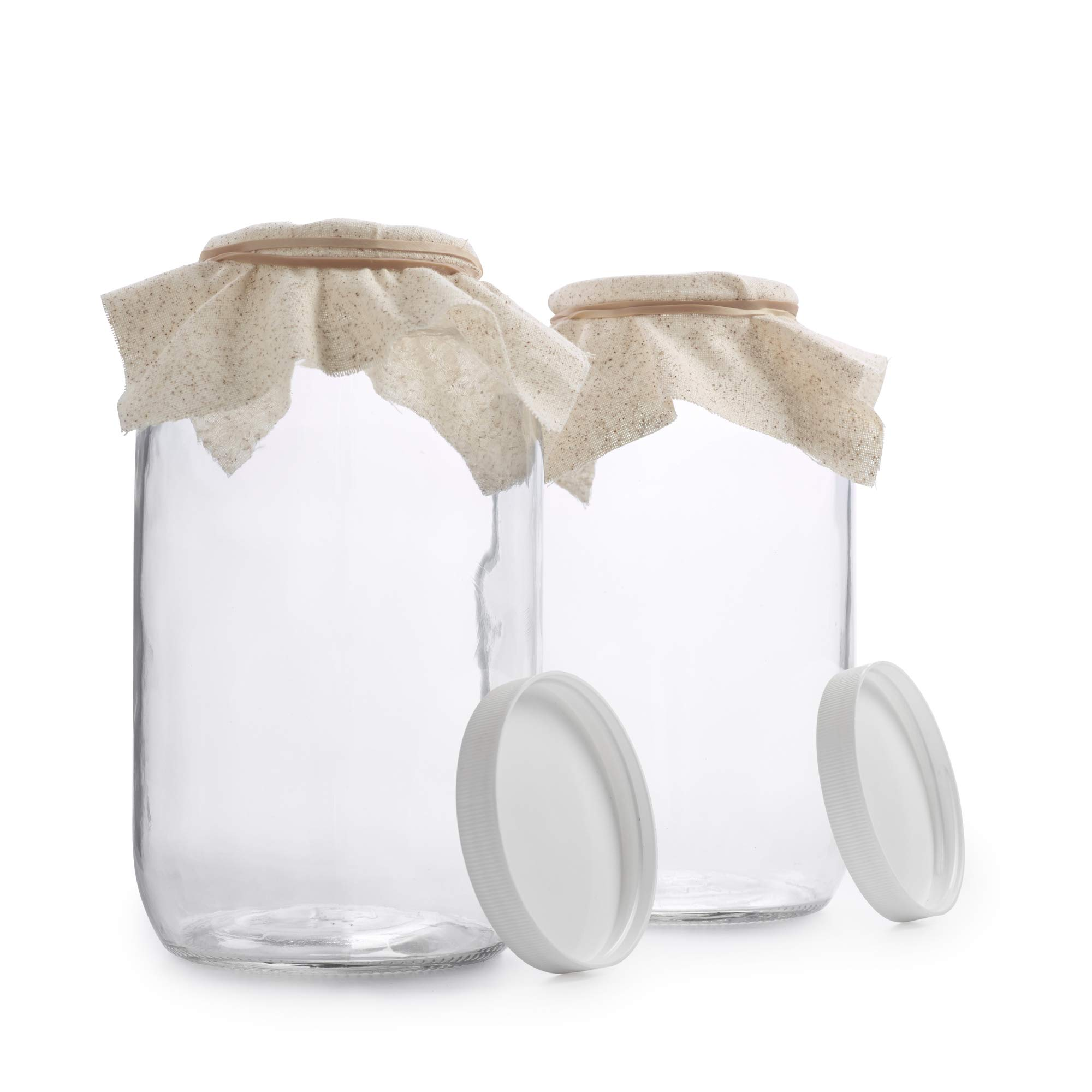 1790 Half Gallon Glass Jars (64oz) 2-Pack - Includes 2 Airtight Lids, Muslin Cloths, Rubber Bands - BPA Free, Dishwasher & Freezer Safe - Perfect for Kombucha, Kefir, Canning, Sun Tea, Fermentation by 1790 (Image #2)