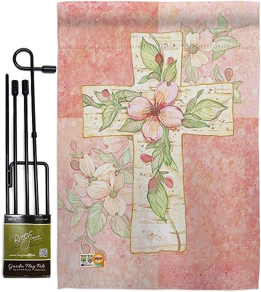 Breeze Decor HG103044 - Bandera de Doble Cara con diseño de Cruz de Flores Rosas Inspiradoras en