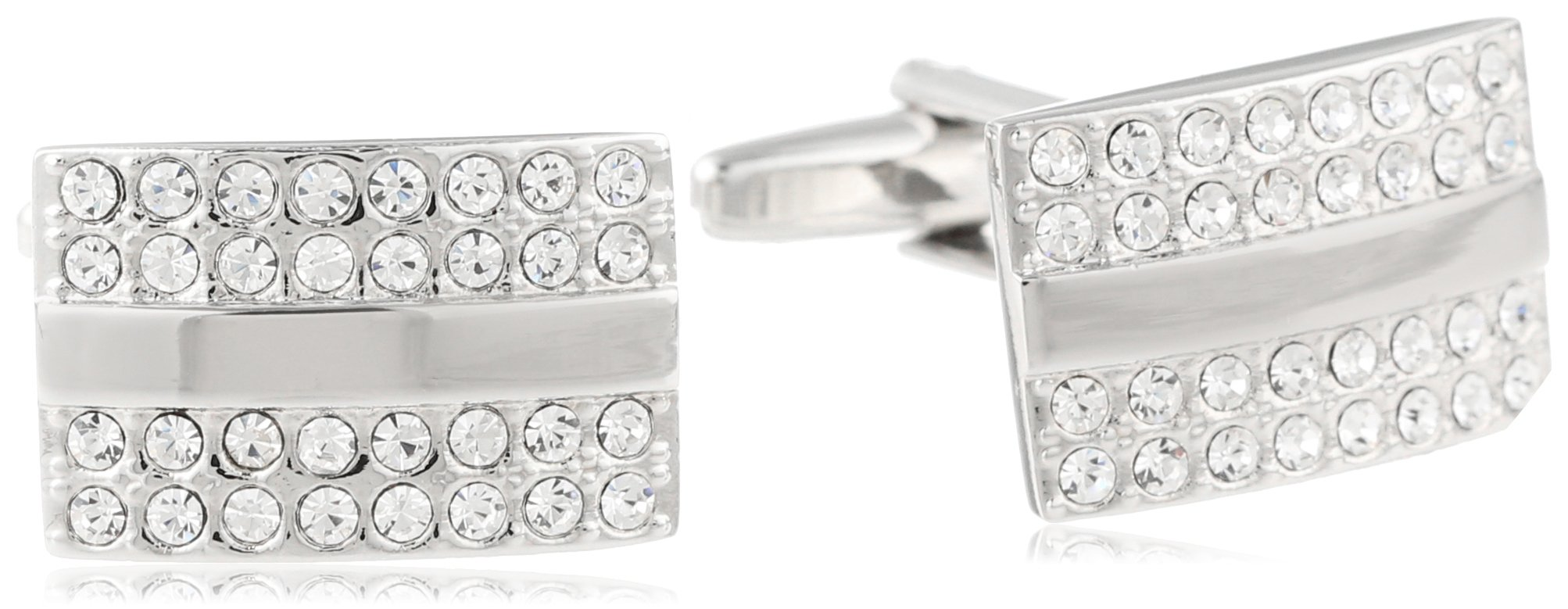 Stacy Adams Men's Silver Rectangle Cuff Link With Crystals, Silver/Crystal, One Size