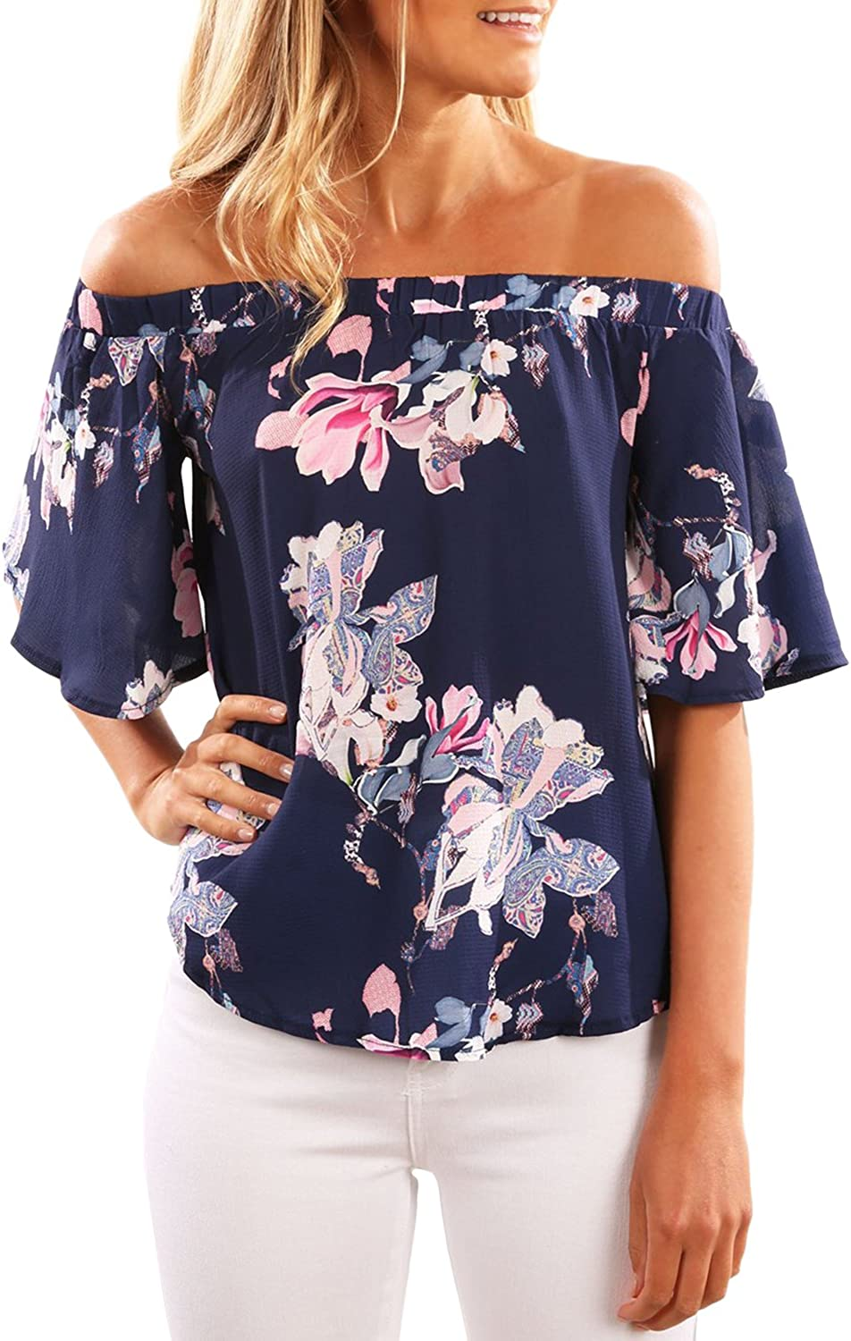 Fashion Women Flowers  Loose Casual Off Shoulder Floral Shirt Tops Blouse Ruffle