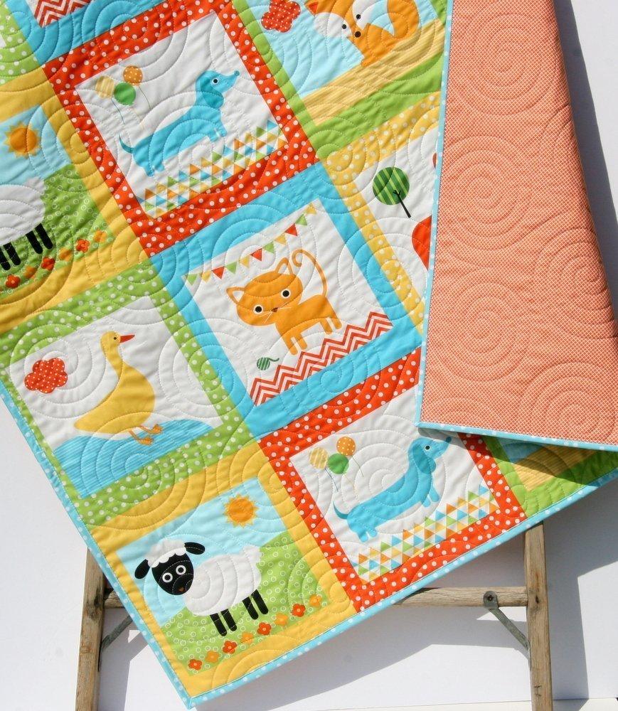 Animal Baby Quilt, Patchwork, Baby Blanket Unisex Boy or Girl Quilt, Dachshund Dog Cat Panda Sheep Fox, Orange Yellow, Toddler Bed Blanket by Kristin Blandford Designs