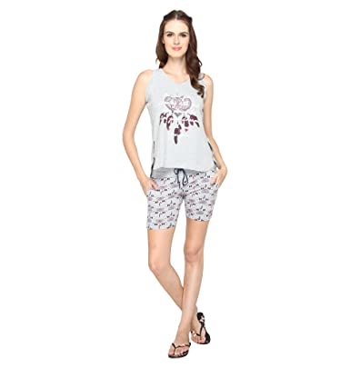 cac756207b Nightwear for Women - Night Suit - Summer Wear - Top   Shorts Combo Set -  Sinker Material - Grey Color ...