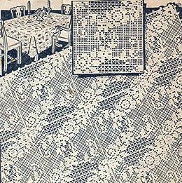 Filet Crochet Motif Square Flower Floral Pattern For Bedspreads