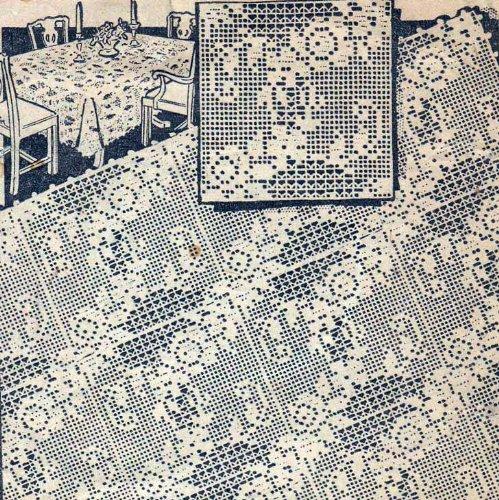 Filet Crochet Motif Square Flower Floral Pattern for Bedspreads Cloths Scarfs Pillow
