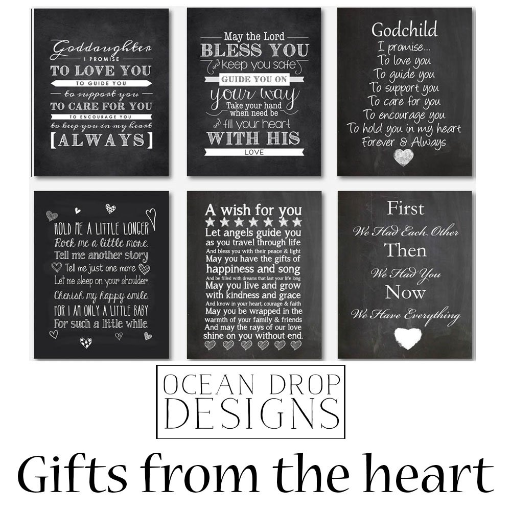 Beautiful Wall Art Chalkboard Typography Print in Soft Pink, Perfect Christening, Baptism or New Baby Gift, 11x14'' by Ocean Drop Photography (Image #8)
