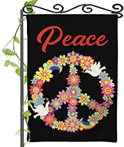 Spring Peace Garden Flag White Dove Colorful Flower Rainbow VerticalBanner Welcome Decorative Seasonal Outdoor Small Burlap Flag 12x18