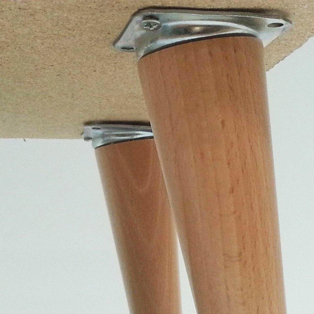 Pour pieds de meubles et de table Plaque de boulonnage 10 /° Avec filetage M8 Lot de 4/plaques de fixation coud/ée Gedotec En m/étal galvanis/é Sans vis