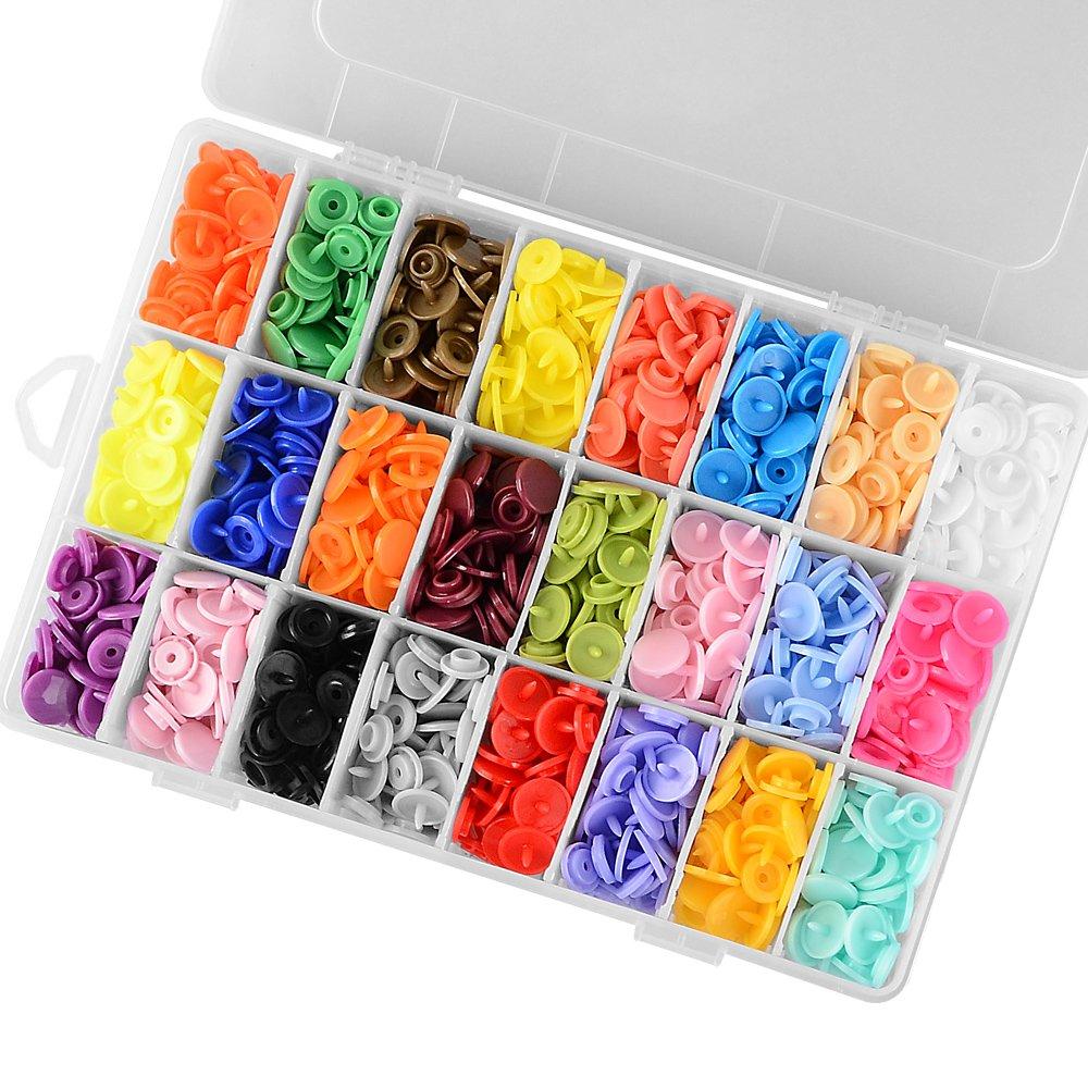 360 sets Kits de botones a presi/ón surtidos 24 colores Accesorios de broches de costura de resina T5 con estuche de almacenamiento organizador