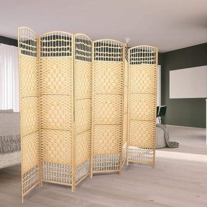 Zoternen Separador de Ambientes Plegable 170 x 240cm Divisor de Habitación de 6 Paneles de Bambú Natural y Papel Trenzado Pantalla de Privacidad Decoración del Hogar(Madera): Amazon.es: Hogar