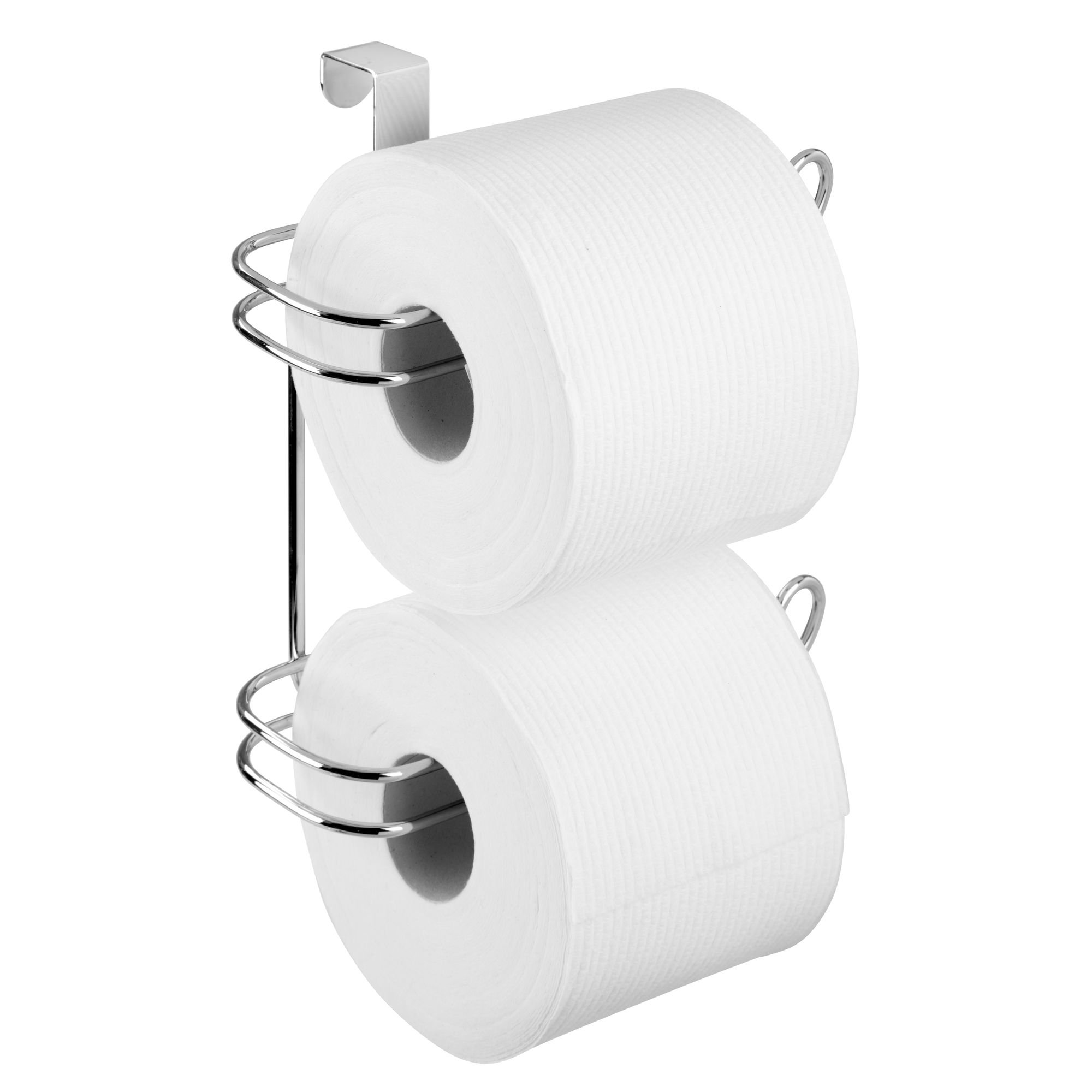 mDesign Compact Hanging Over the Tank Toilet Tissue Paper Roll Holder and Dispenser for Bathroom Storage - Holds 1 Extra Roll – Space Saving Design - Pack of 2, Durable Metal Wire in Chrome Finish by mDesign (Image #4)