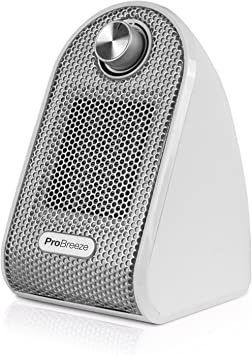 Pro Breeze Calefactor Eléctrico Cerámico 500W - con Termostato Ajustable, Bajo Consumo y Protec...
