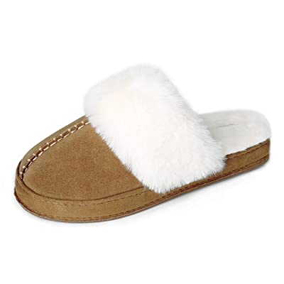 BCSTUDIO Women's Cozy Genuine Leather Home Slippers with Fluffy Fur Lining, Soft Memory Foam House Shoes for Indoor Outdoor w/Anti-Slip Rubber Sole   Slippers