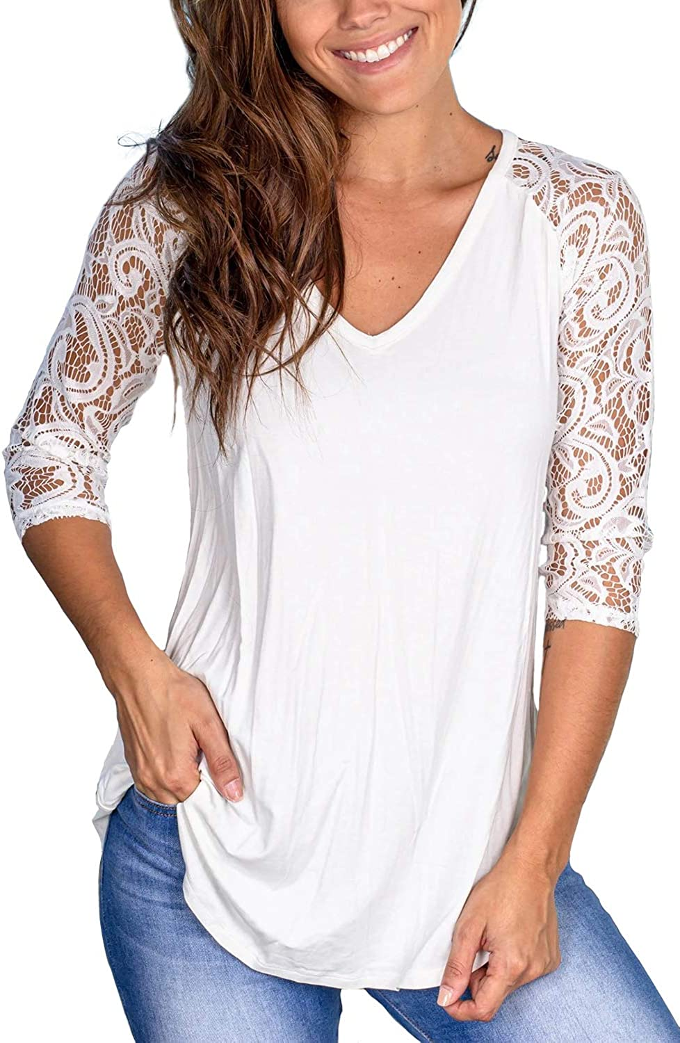 Sieanear Womens Lace Short Sleeve V-Neck T-Shirt Loose Casual Summer Tee Tops
