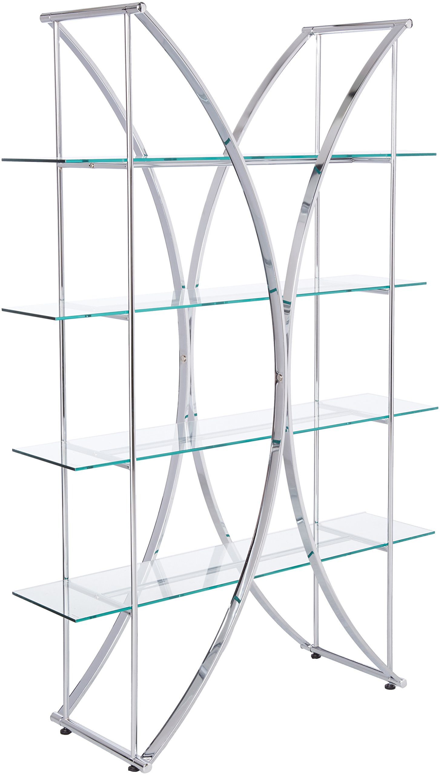 X-Motif Bookcase with Floating Style Glass Shelves Chrome and Clear by Coaster Home Furnishings