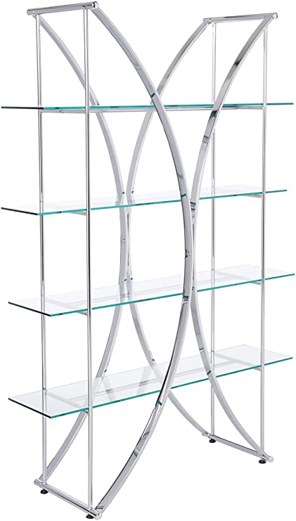 X Motif Bookcase With Floating Style Glass Shelves Chrome And Clear