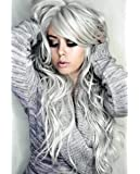"""28"""" Long Wigs Body Wave Wavy Wigs for Women Cosplay Synthetic Silver Gray Hair Goddess Style"""