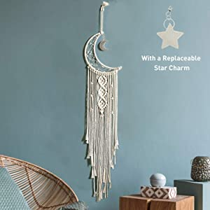 Boho Macrame Woven Wall Hanging, Crochet Crescent Moon Star Dream Catcher with Long Tassel- White Cotton Cord Handmade Bohemian Home Decor Ornament Decoration Art Craft Gift for Kids Bedroom Dorm Room