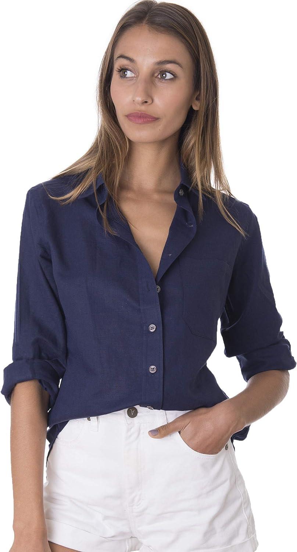 CAMIXA Camisa de Mujer Puro Lino Blusa Fluida Semi Slim Suave Top Fresco: Amazon.es: Ropa y accesorios