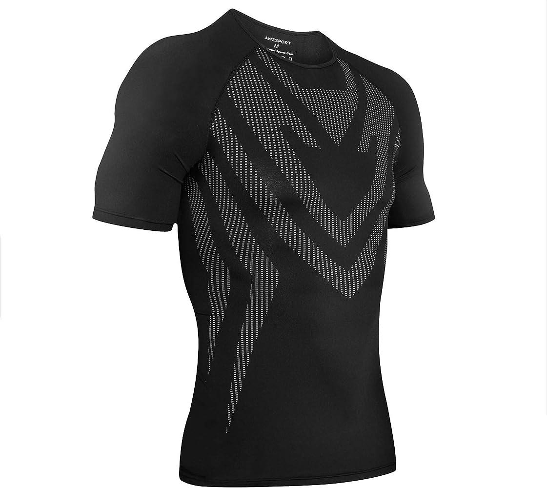 AMZSPORT Camisa de Compresión Deportiva para Hombre Camiseta de Manga Corta Camiseta de Secado Rápido Capa Base para Correr, Negro S: Amazon.es: Deportes y aire libre