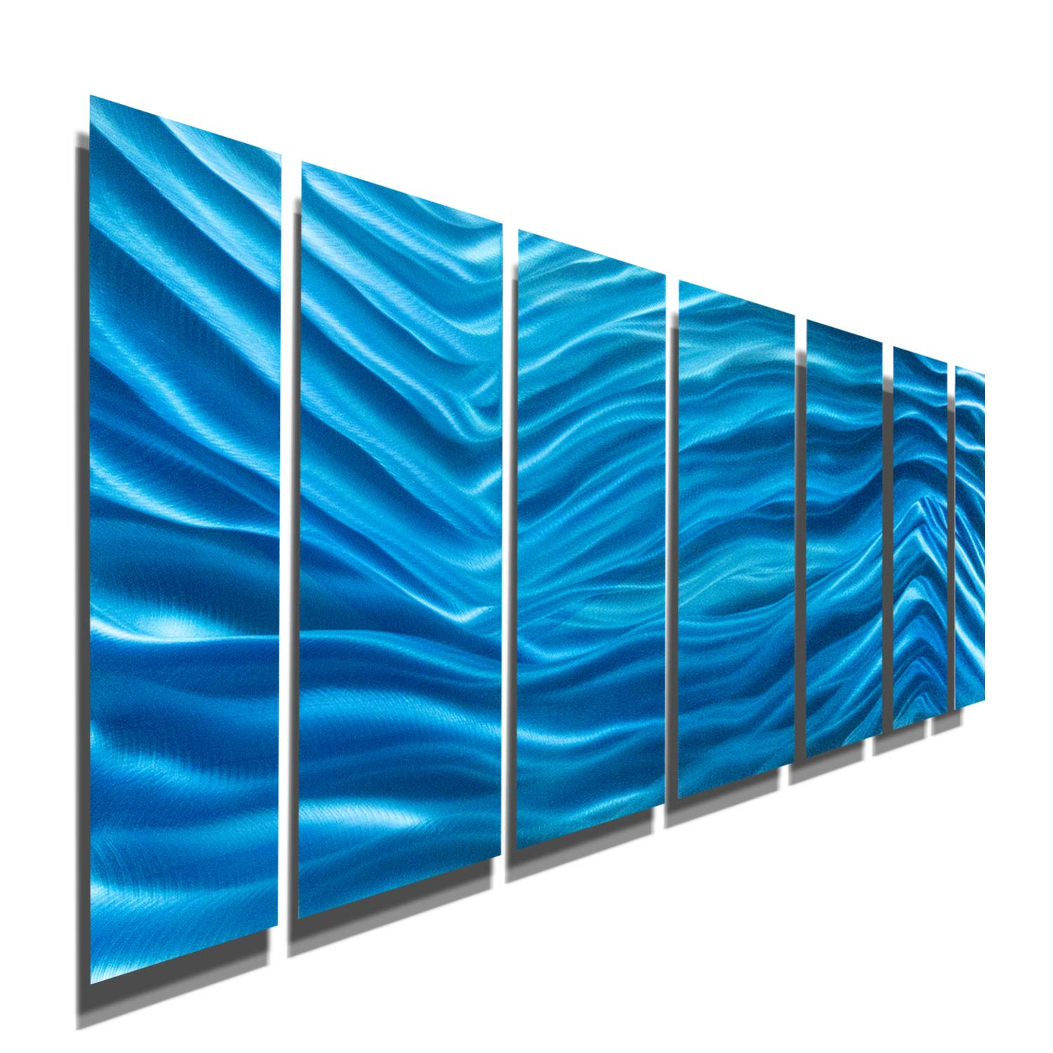 Amazon com bold blue aqua abstract modern metal wall art hand painted home decor home accent aqua blue wave ii by jon allen home kitchen