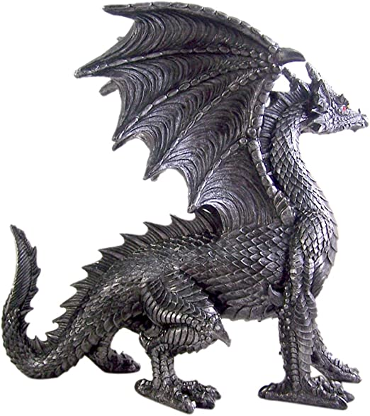 12 Inch Medieval Dragon on Large Heart Resin Statue Figurine PTC