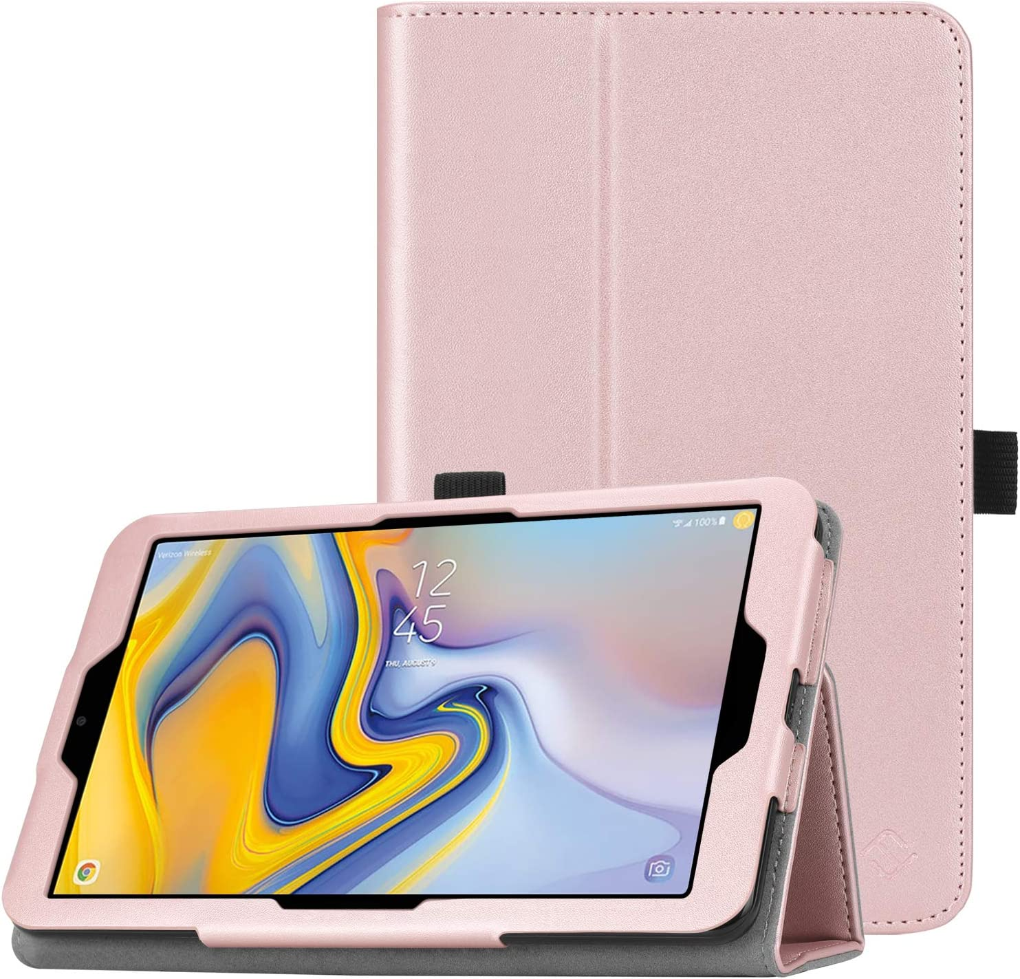 Fintie Folio Case for Samsung Galaxy Tab A 8.0 2018 Model SM-T387 Verizon/Sprint/T-Mobile/AT&T, Slim Fit Premium Vegan Leather Stand Cover, Rose Gold