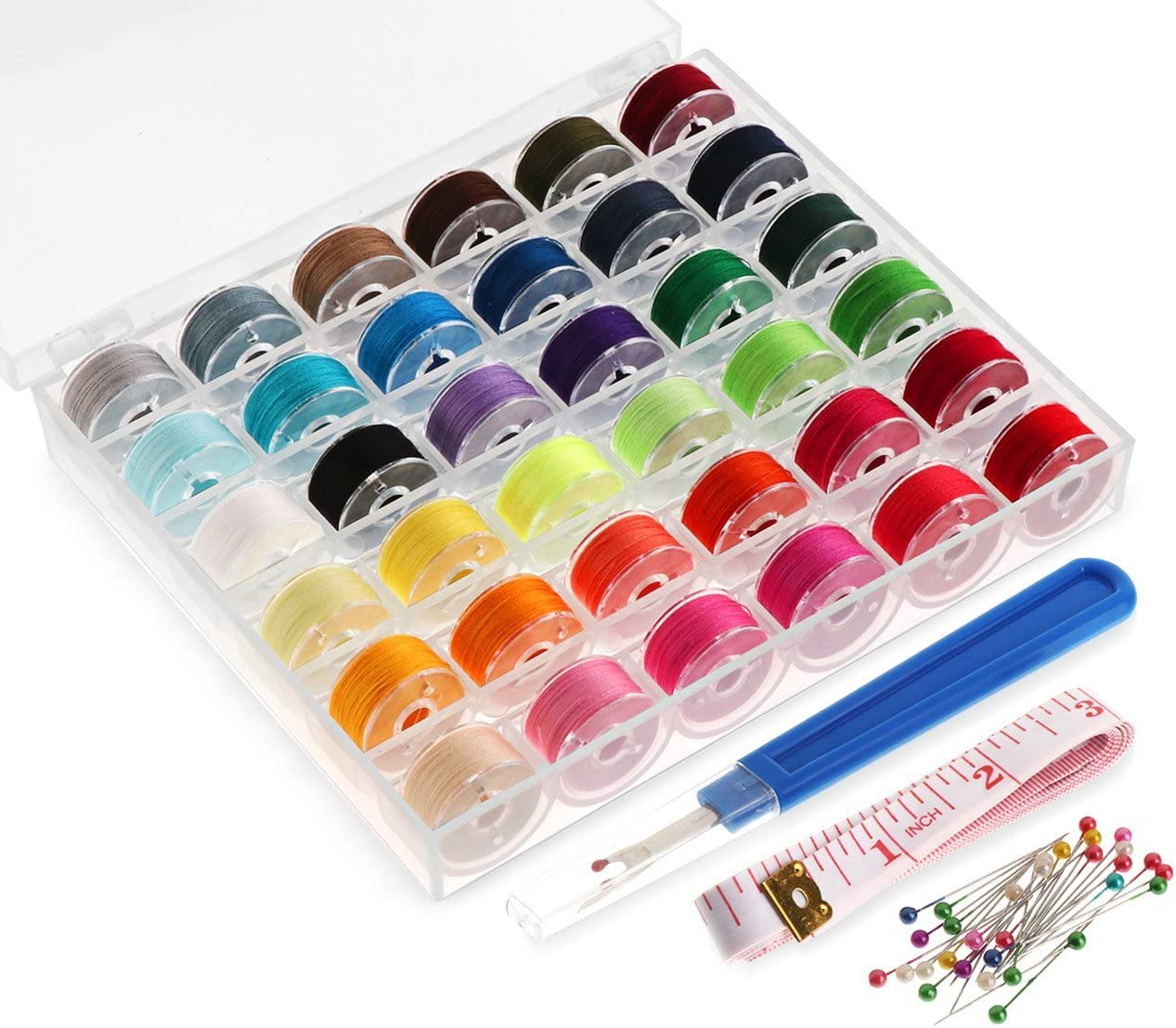 36PCS Sewing Machine Bobbins Threads Scissors,Soft Tape Measure and Threader for Brother//Babylock//Janome//Babylock//Singer Sewing Machine Needles Sewing Thread Bobbins with Case