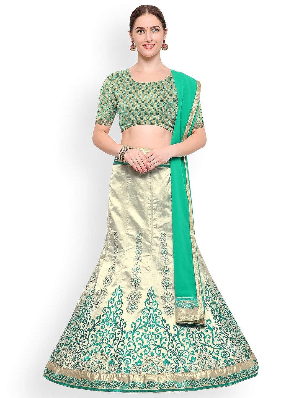 Generic WOMN Green & SilverToned Woven Design Silk Lehenga Choli with Dupatta