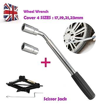 1 pcs Universal extensible telescópica rueda llave herramientas de mano y 1 pcs inoxidable Scissor Jack