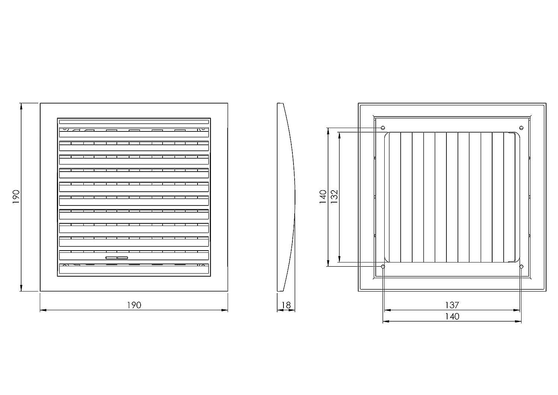 ABS Gitter Anthrazit L/üftungsgitter 190 x 190mm mit Schieberegler Abschlussgitter Insektenschutz