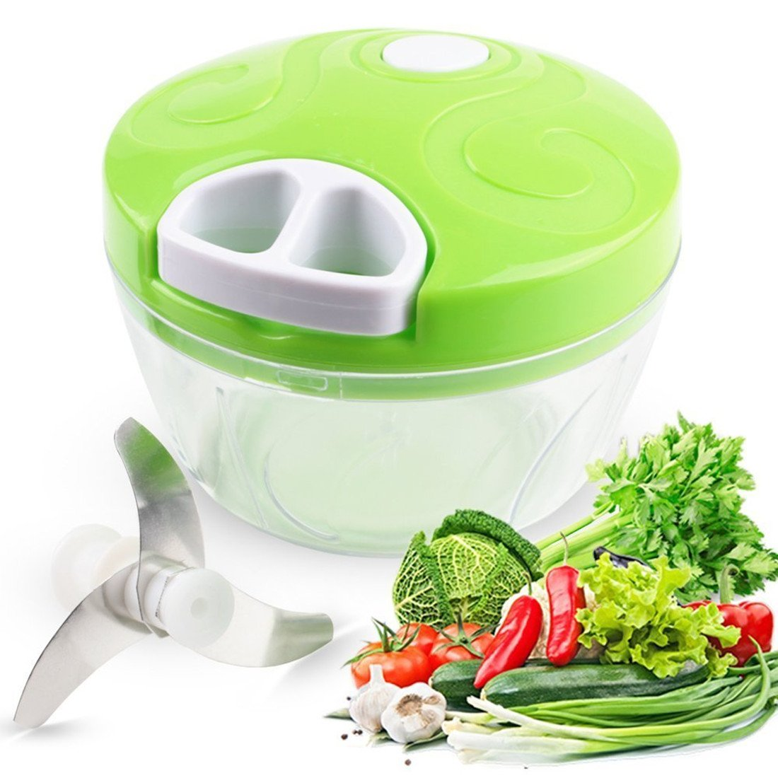 Greenlife Multipurpose Kitchenware, Manual Food Chopper Stainless Steel Slicer/Mincer Hand Pull Blender for Salsa/Fruits/Vegetables (2 Cup) XQH