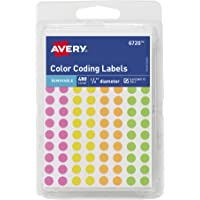 Avery Round Color Coding Labels, 0.25 Inch Diameter, Assorted Removable, Pack of 480 (6720)