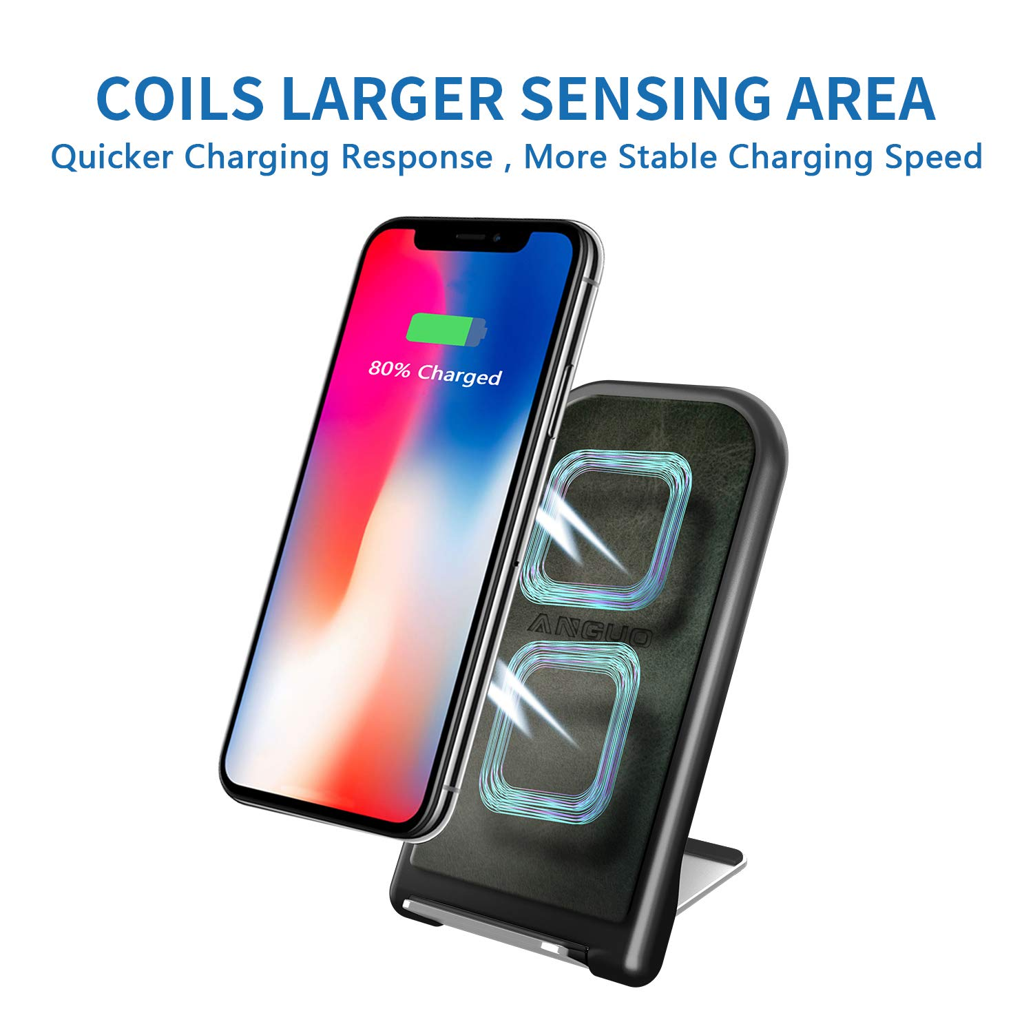 ANGUO Wireless Charging Stand, Qi Certified 10W Fast Wireless Charger Stand for Galaxy S9/S9+ Note 8/5 S8/S8+ S7/S7 Edge, Standard Charging for iPhone X/8/8+ (No AC Adapter)