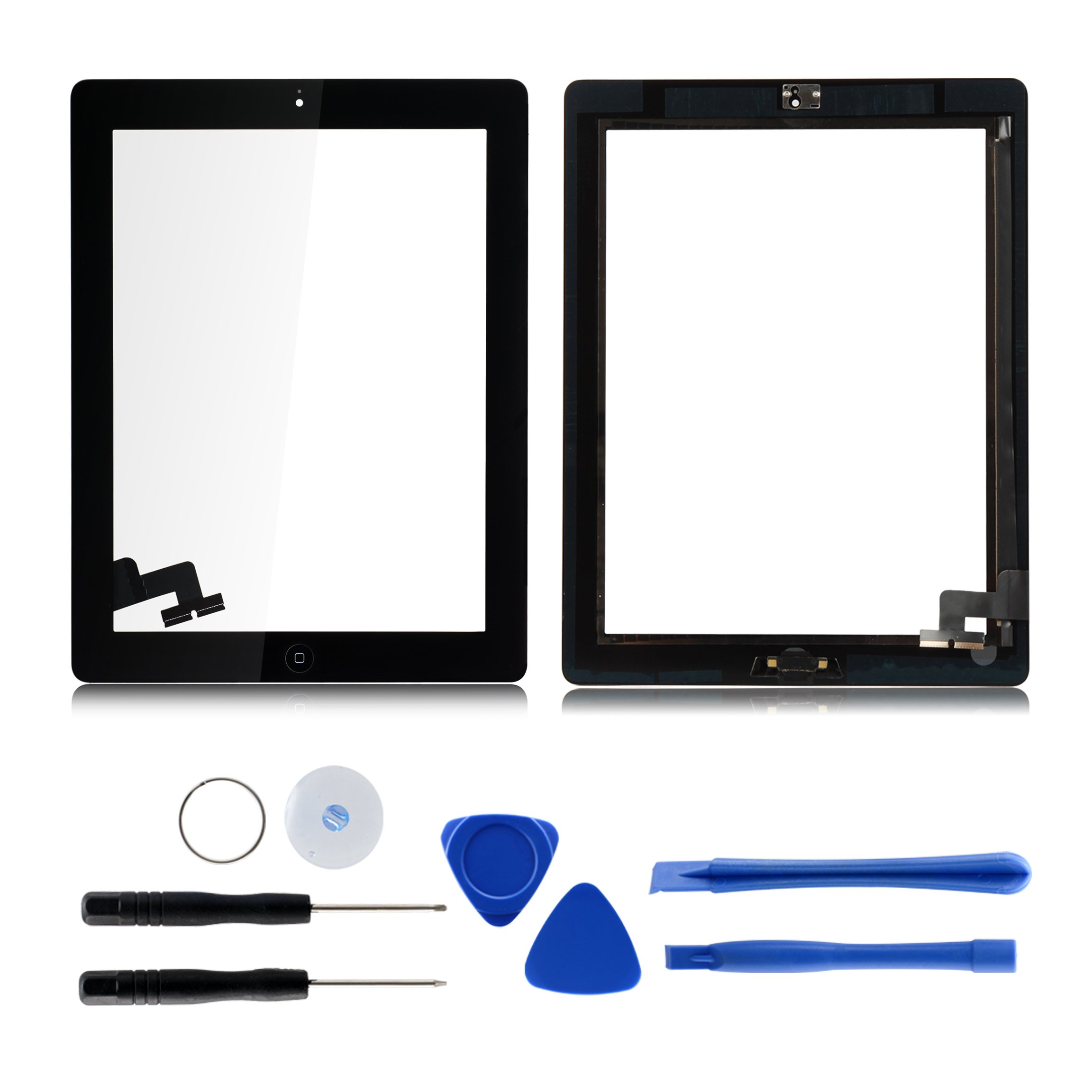 Touch Screen Digitizer Assembled for Ipad 2 - Includes Home Button Assembly , Camera Holder and Preinstalled Adhesive( Black ) by LifeDecor