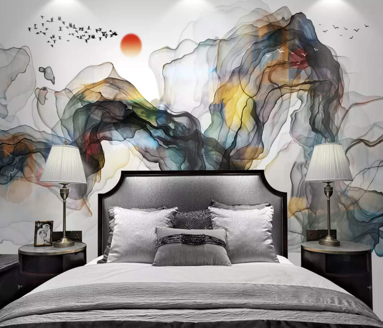 Amazon.com: Murwall Abstract Wallpaper Colorful Smoke Wall Mural Watercolor Art Wall Decor Abstract Home Decor Living Room Bedroom Cafe Design: Handmade