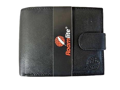 Hombre Cartera Cuero Auténtico Roamlite - 9 Ranuras para Tarjetas de Crédito Monedero - 2 Ventanas Para Fotos - 2 Ranuras Billeteras - Bolsillo ...