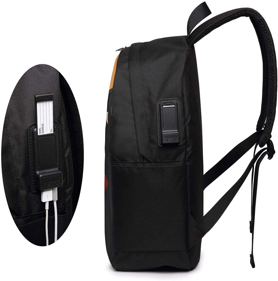 17 Inches Heavy Backpack with USB Charging//Headphone//Name Tag//Port,Sword Art Online Couples Wallpaper Large Capacity Durable Stretch Adustable Should Bag Schoolbag for Adults//Kids