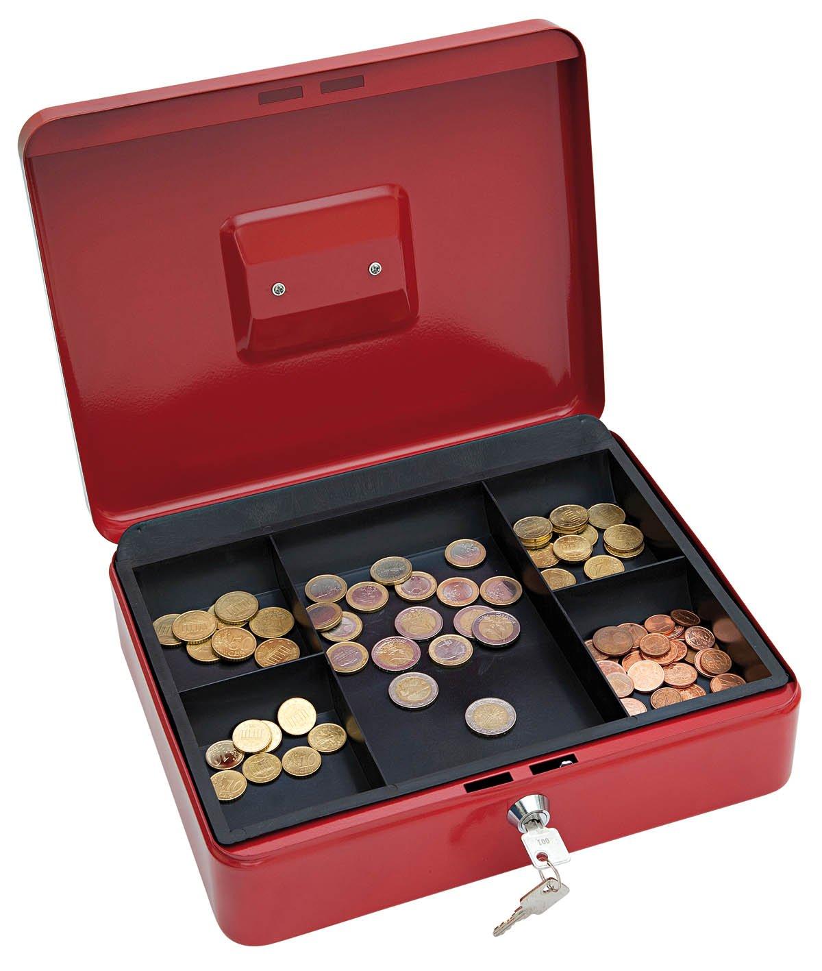 schwarz aus pulverbeschichtetem Stahl, versenkbarer Griff, 5-F/ächer-M/ünzeinsatz, Sicherheits-Zylinderschloss, 30 x 24 x 9 cm Wedo 145421X Geldkassette