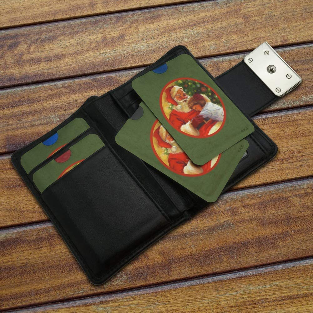 Christmas Holiday Jolly Santa and Child Credit Card RFID Blocker Holder Protector Wallet Purse Sleeves Set of 4